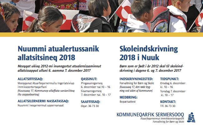 Skoleindskrivning 2018 i Nuuk