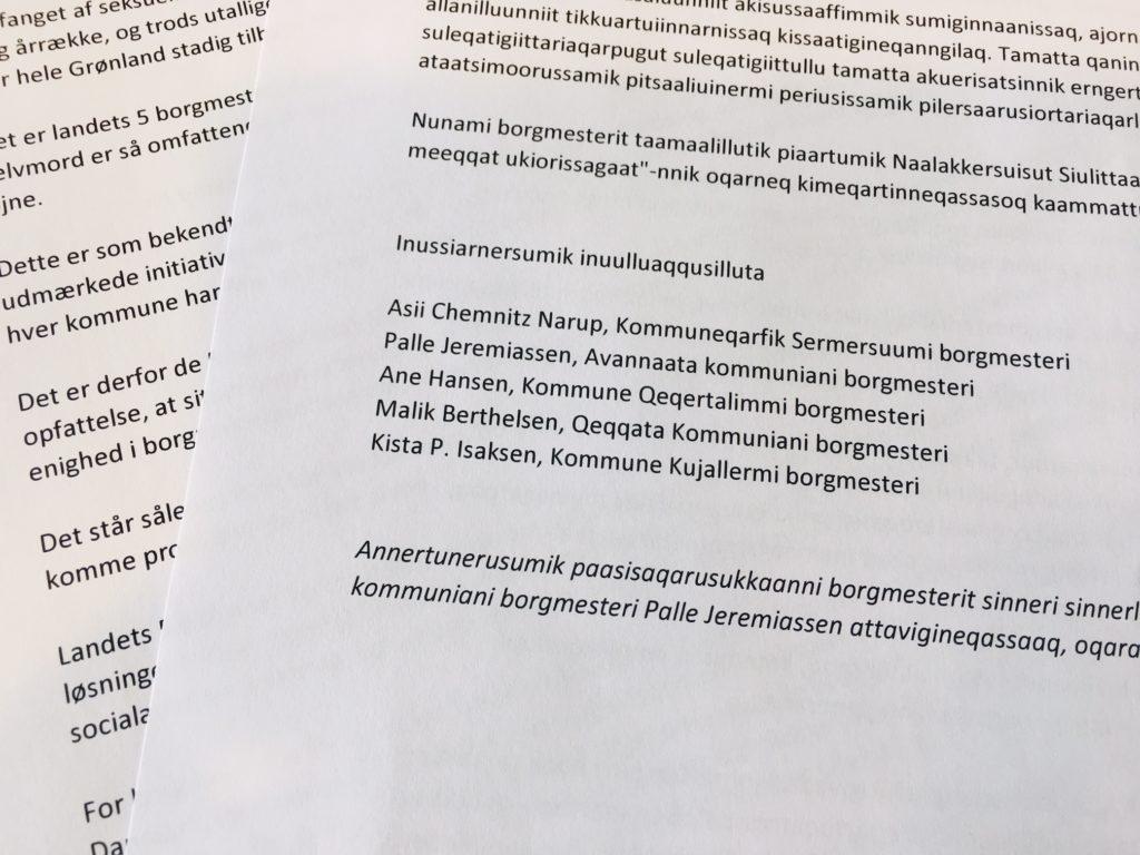 Fælles erklæring fra de grønlandske borgmestre