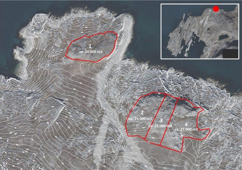 Midlertidige arealer til stenbrud